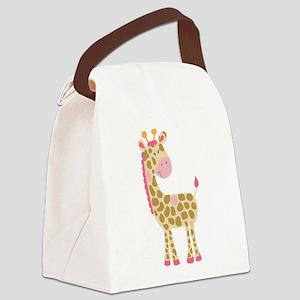Jungle Jill Giraffe Pink Canvas Lunch Bag