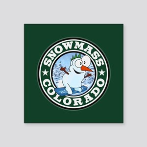"Snowmass Snowman Circle Square Sticker 3"" x 3"""