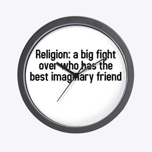 Religion: a big fight Wall Clock