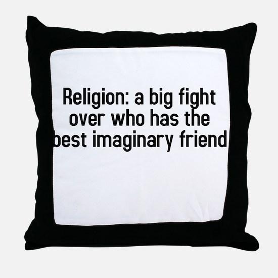 Religion: a big fight Throw Pillow