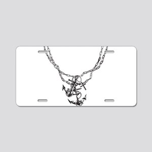 Anchor and Chains Aluminum License Plate