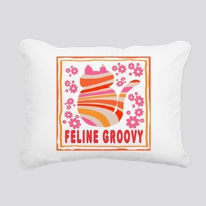 Feline Groovy (orange/pi Rectangular Canvas Pillow