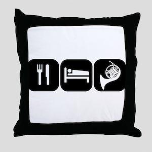 Eat Sleep Horn Throw Pillow