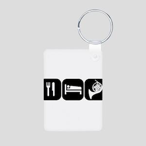 Eat Sleep Horn Aluminum Photo Keychain