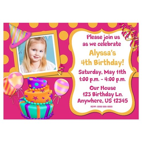 Girls 4th Birthday Invitations And Announcements Cafepress