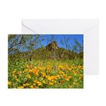 Picacho Peak Gold Poppies Greeting Cards (Pk of 20