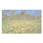 Picacho Peak Gold Poppies Sticker (Rectangle)