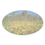 Picacho Peak Gold Poppies Sticker (Oval 10 pk)