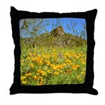 Picacho Peak Gold Poppies Throw Pillow