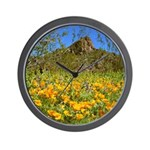Picacho Peak Gold Poppies Wall Clock