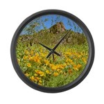 Picacho Peak Gold Poppies Large Wall Clock