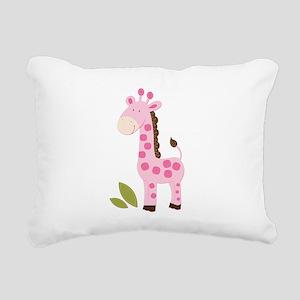 Cute Pink Girl Giraffe Rectangular Canvas Pillow