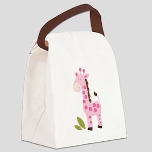 Cute Pink Girl Giraffe Canvas Lunch Bag