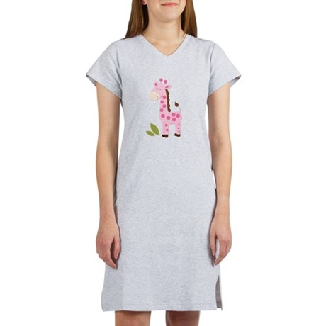 Cute Pink Girl Giraffe Women's Nightshirt