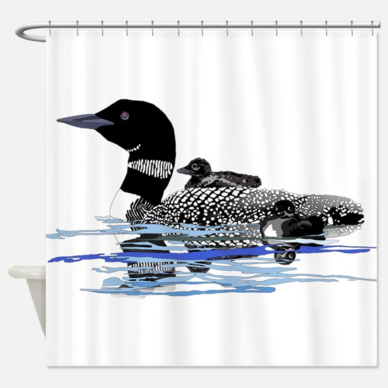 loon with babies Shower Curtain