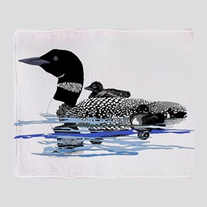 loon with babies Throw Blanket