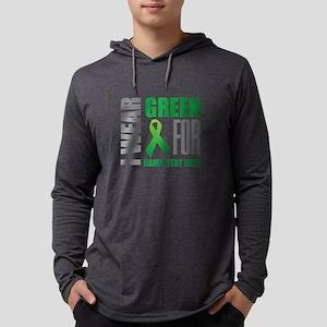 Green Awareness Ribbon Customize Mens Hooded Shirt