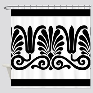 Black and White Floral Design Shower Curtain