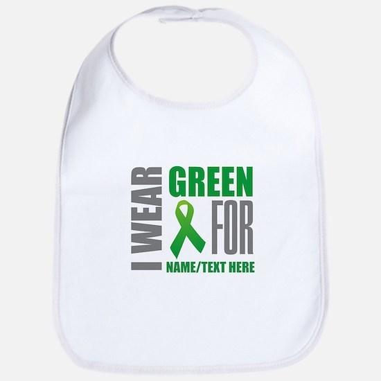 Green Awareness Ribbon Customized Cotton Baby Bib