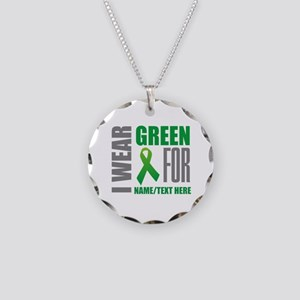 Green Awareness Ribbon Custo Necklace Circle Charm
