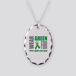 Green Awareness Ribbon Customi Necklace Oval Charm