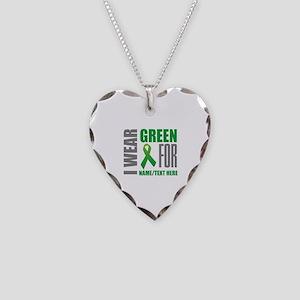 Green Awareness Ribbon Custom Necklace Heart Charm