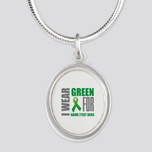 Green Awareness Ribbon Custom Silver Oval Necklace