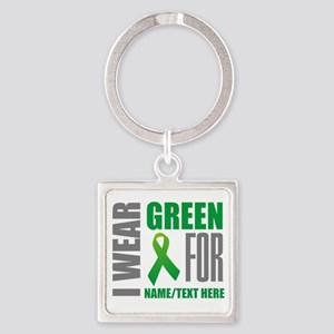 Green Awareness Ribbon Customized Square Keychain