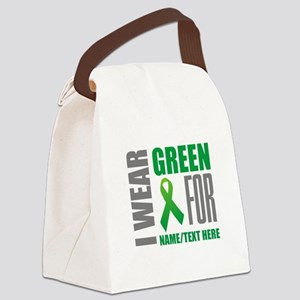Green Awareness Ribbon Customized Canvas Lunch Bag
