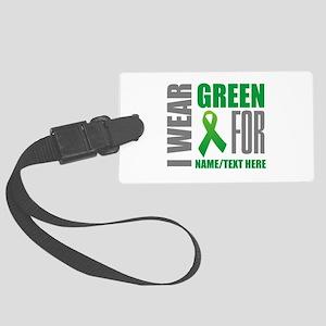 Green Awareness Ribbon Customize Large Luggage Tag