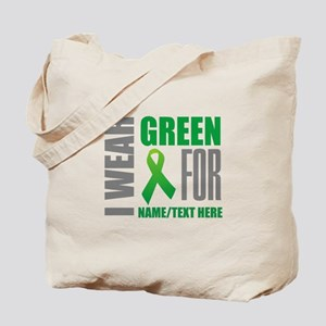 Green Awareness Ribbon Customized Tote Bag