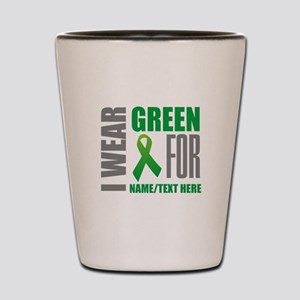 Green Awareness Ribbon Customized Shot Glass