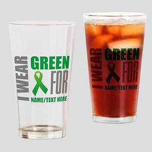 Green Awareness Ribbon Customized Drinking Glass
