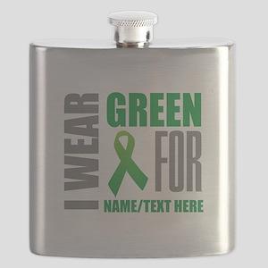 Green Awareness Ribbon Customized Flask