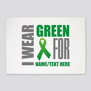 Green Awareness Ribbon Customized 5'x7'Area Rug