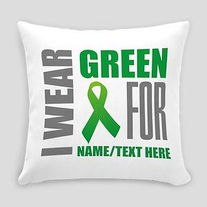 Green Awareness Ribbon Customized Everyday Pillow