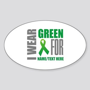 Green Awareness Ribbon Customized Sticker (Oval)