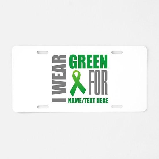 Green Awareness Ribbon Cust Aluminum License Plate