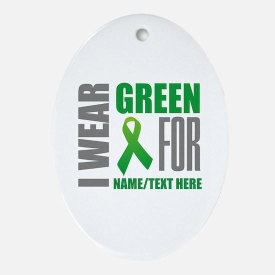 Green Awareness Ribbon Customized Oval Ornament
