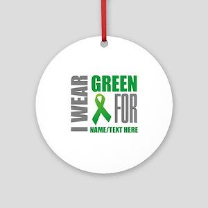 Green Awareness Ribbon Customized Round Ornament