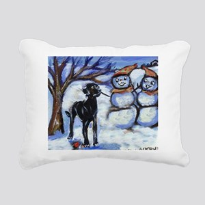 Black Lab Snowman design Rectangular Canvas Pillow