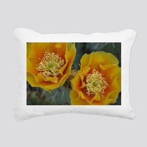 Yellow Cactus Flowers Rectangular Canvas Pillow