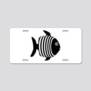 Black And White Angel Fish Aluminum License Plate