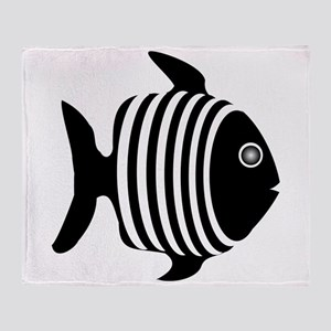 Black And White Angel Fish Throw Blanket