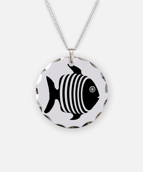 Black And White Angel Fish Necklace