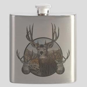 Mule deer oil painting Flask