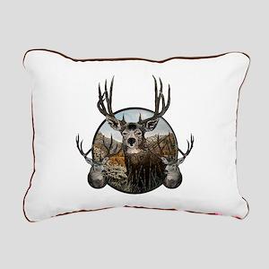 Mule deer oil painting Rectangular Canvas Pillow