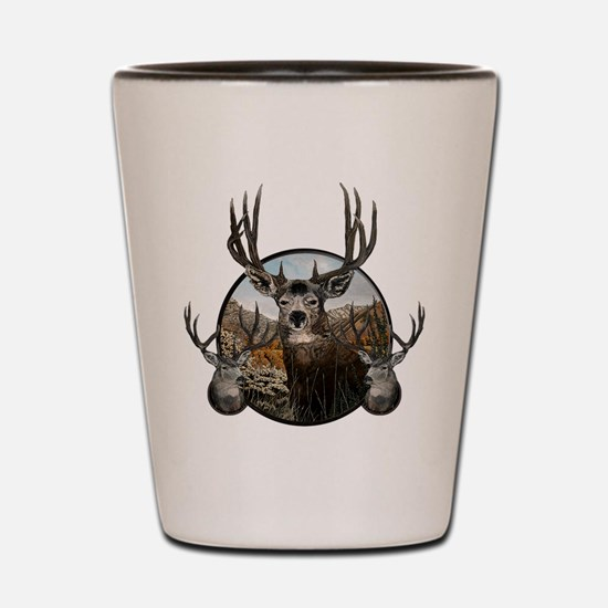 Mule deer oil painting Shot Glass