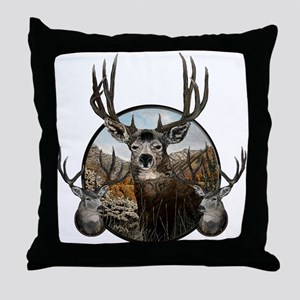 Mule deer oil painting Throw Pillow