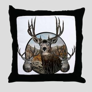Mule deer oil painting Throw Pillow